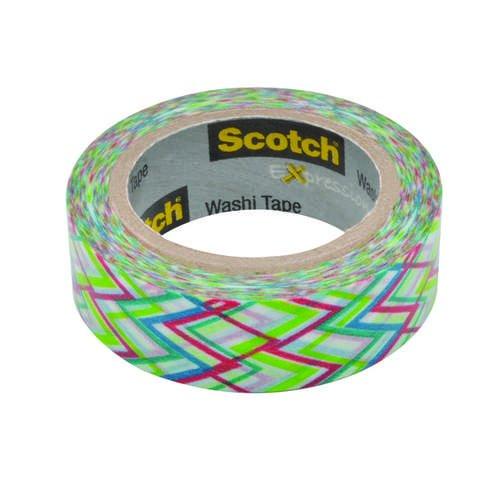 Лента клейкая декоративная SCOTCH Washi, зигзаг, 15мм x 10м, (3M) C314-P32