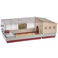 Клетка для кроликов Ferplast Krolik 140 Plus с деревянным домом, бордовая