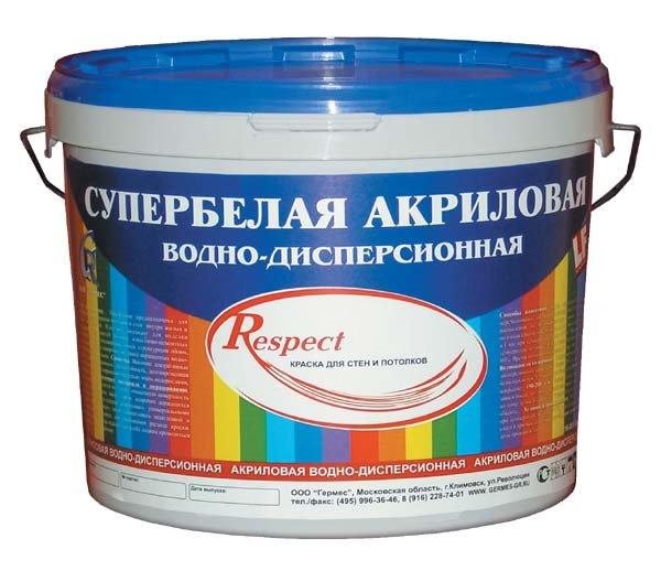 Краска Respect акриловая супербелая 14 кг