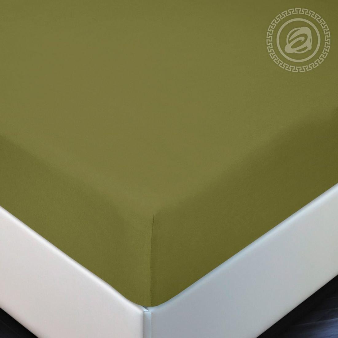 Олива - простынь на резинке, размер 160х200, ткань трикотаж, Артпостель