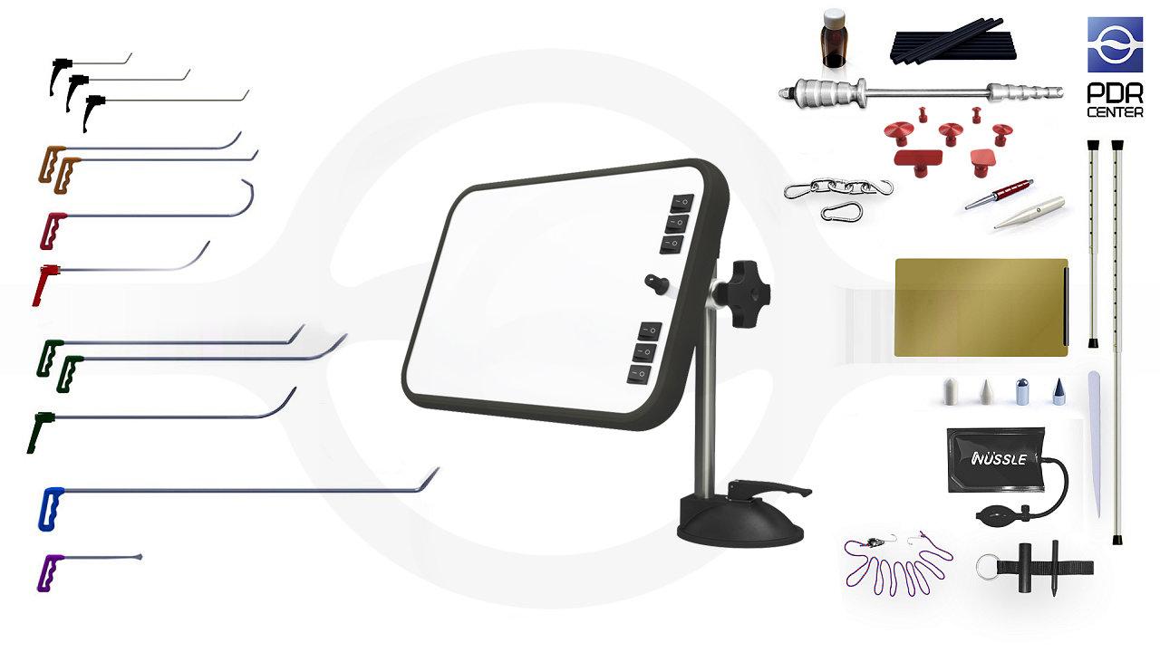 Малый набор с мобильной LED лампой (12 крючков, 4 насадки, 11 аксессуаров, клеевая система, мобильная лампа)