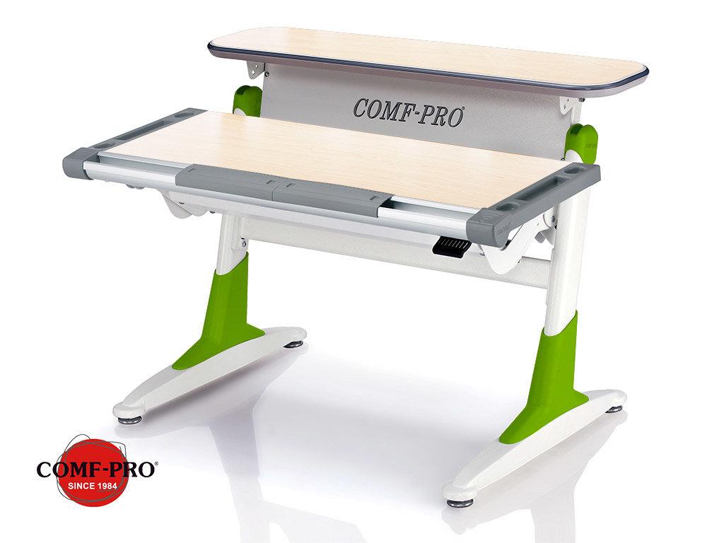 Растущая парта Comf-Pro Coho (TH-333 столешница - тик / накладки на ножках - зеленые)