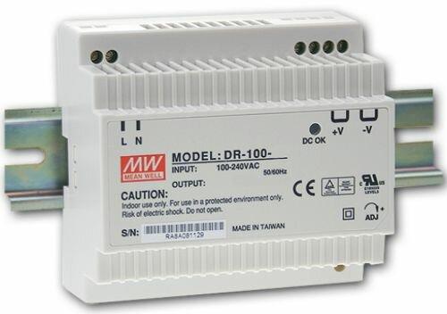 Преобразователь AC-DC сетевой Mean Well DR-100-12 источник питания 12В с универсальным входом от 85 до 264 В AC, мощность 90Вт / 7,5А, монтаж на DIN-р