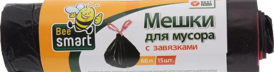 Инвентарь для уборки Beesmart 402046/402037 мешки для мусора с завязками 60л 15шт.