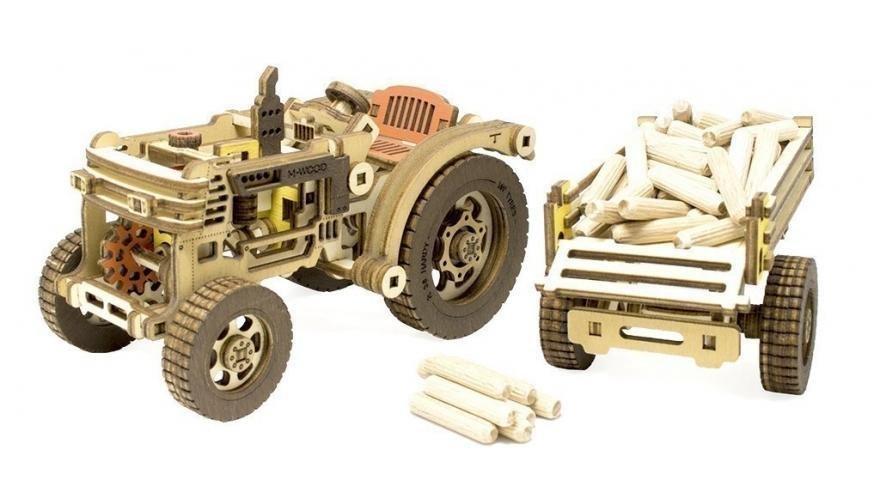 Конструктор 3D деревянный M-WOOD Трактор с прицепом HARDY - MW-402