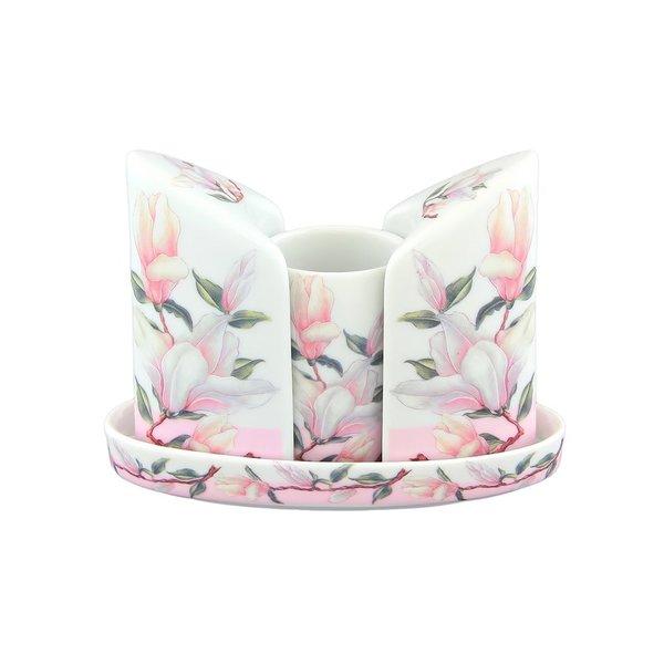 Набор для специй фарфоровый на подставке Elan Gallery Орхидея на розовом (вазочка под зубочистки, солонка, перечница)