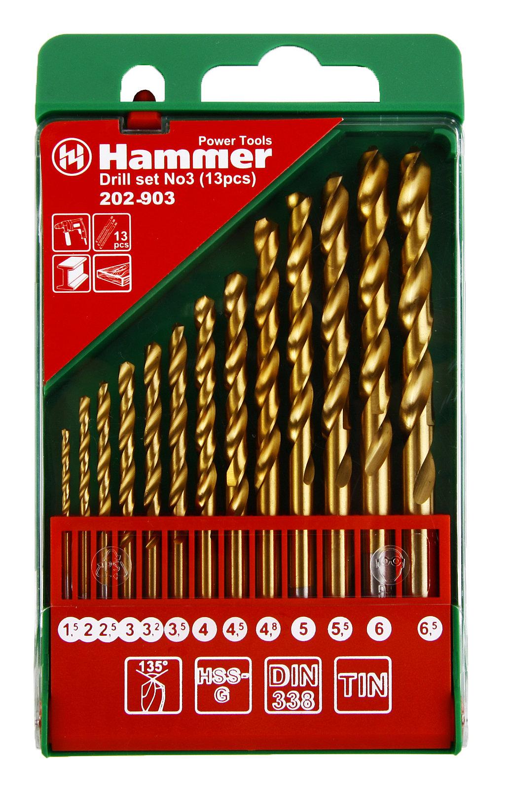 Набор сверл Hammer No3 (13шт.) 1,5-6,5мм