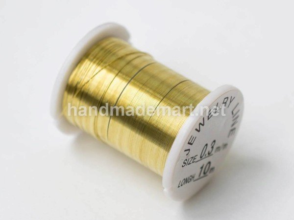 Проволока Латунь, Диаметр 0,3 мм, Намотка 10 м, Золотистая, 1 шт