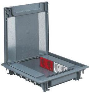 Напольная коробка Legrand на 16 модулей, с регулируемой глубиной 50-70 мм. Цвет серый. Крышка под покрытие. Артикул 088070. Монтаж в фальш-пол.