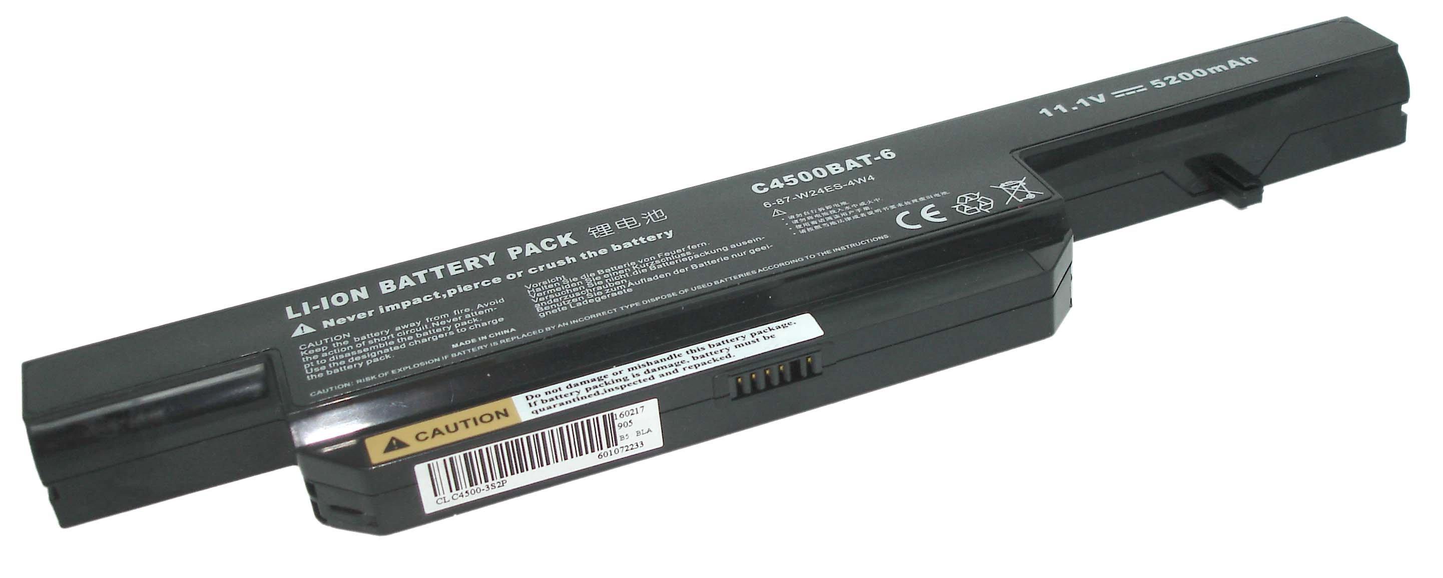 Аккумуляторная батарея C4500BAT6 для ноутбука DNS 0162456 Clevo C4500 4400mah