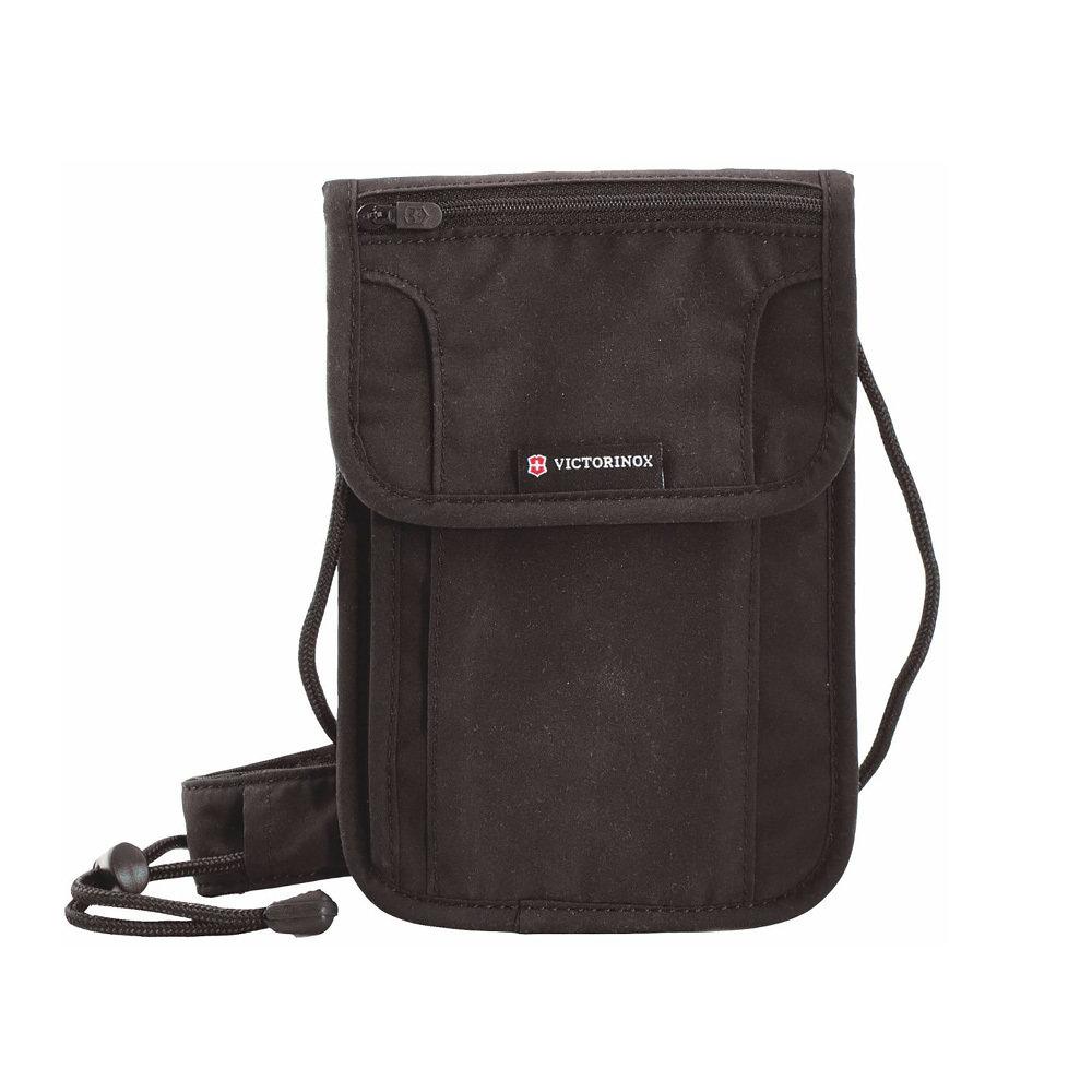 Кошелёк на шею Victorinox Deluxe с защитой от сканирования RFID, чёрный, 21x1x14 см (Портмоне. Кошельки)