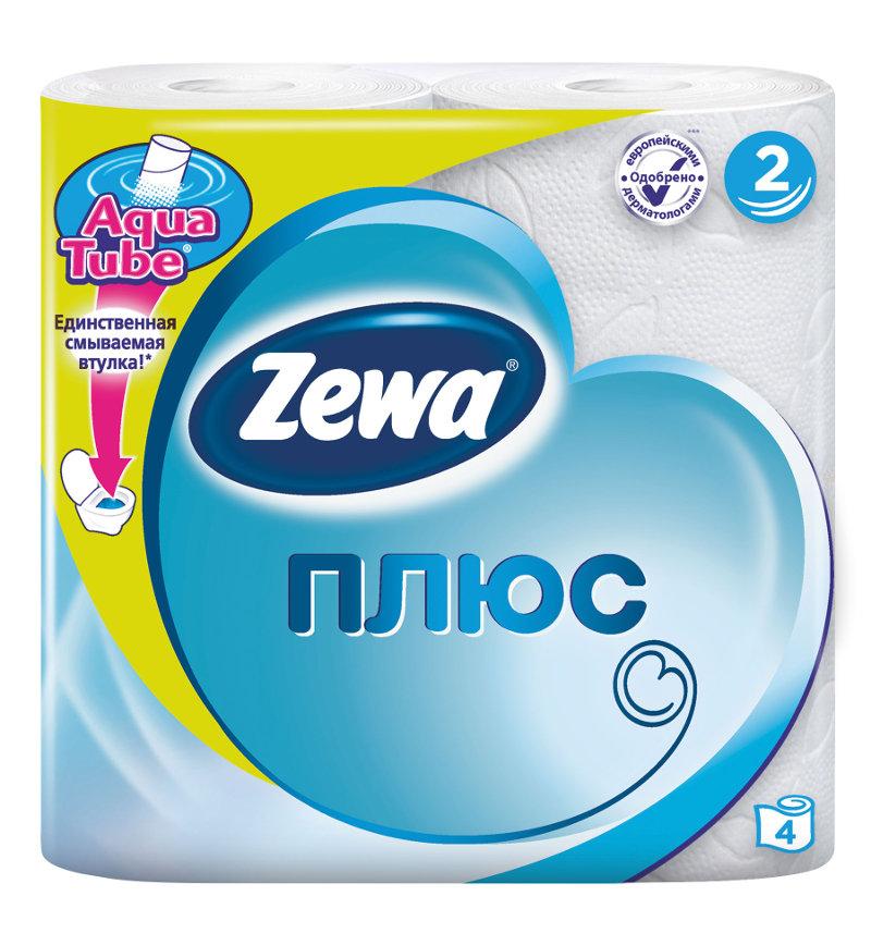 Туалетная бумага для ежедневной гигиены Zewa Plus, 4 шт