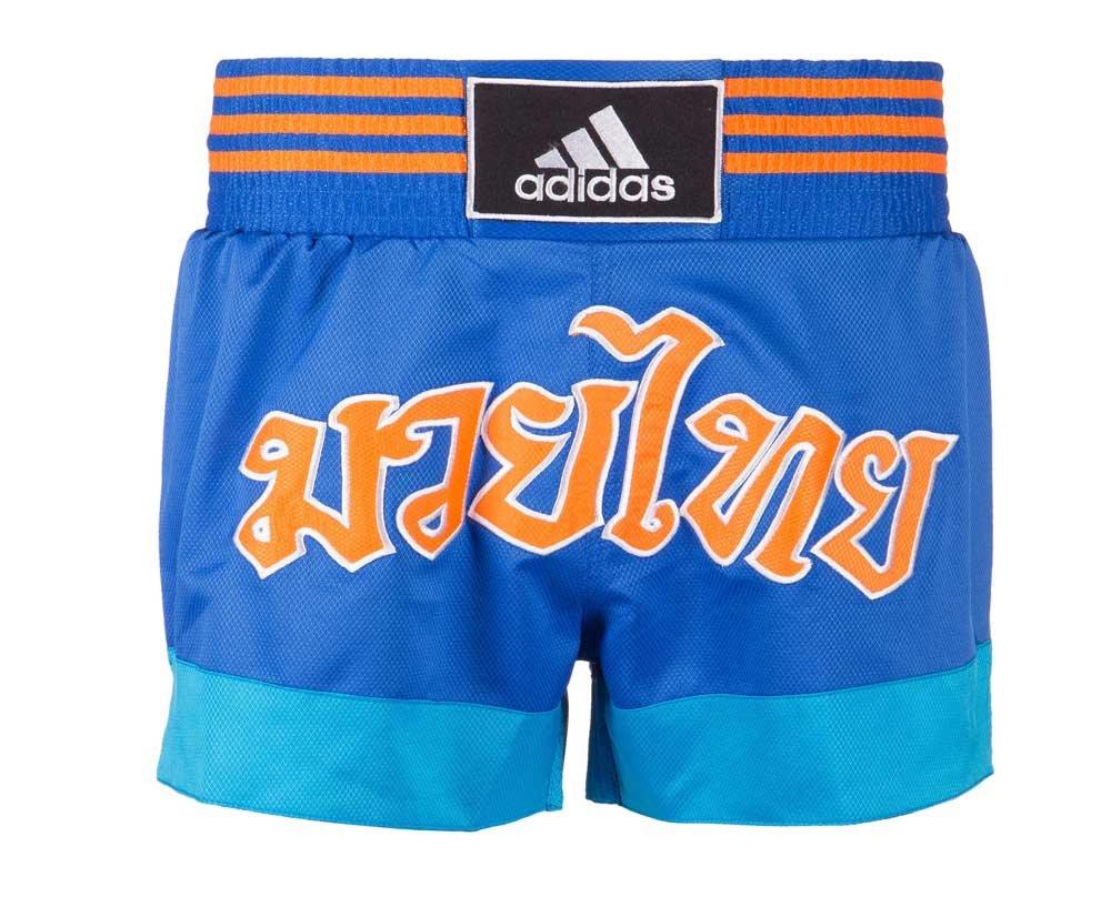 Шорты для тайского бокса Thai Boxing Short Satin черно-синие (размер L)