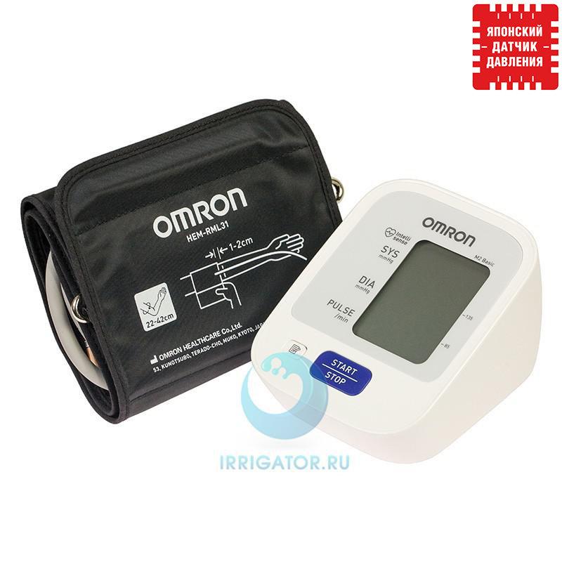 Тонометр Omron M2 Basic с индикатором аритмии (НЕМ-7121-ALRU) адаптер+ манжета