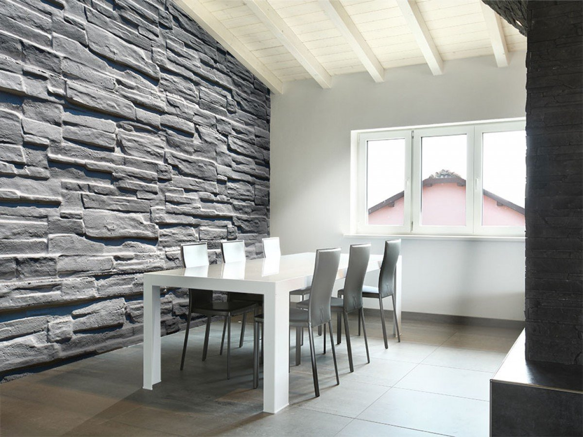 Фотообои «Серая каменная стена», 150x105 см