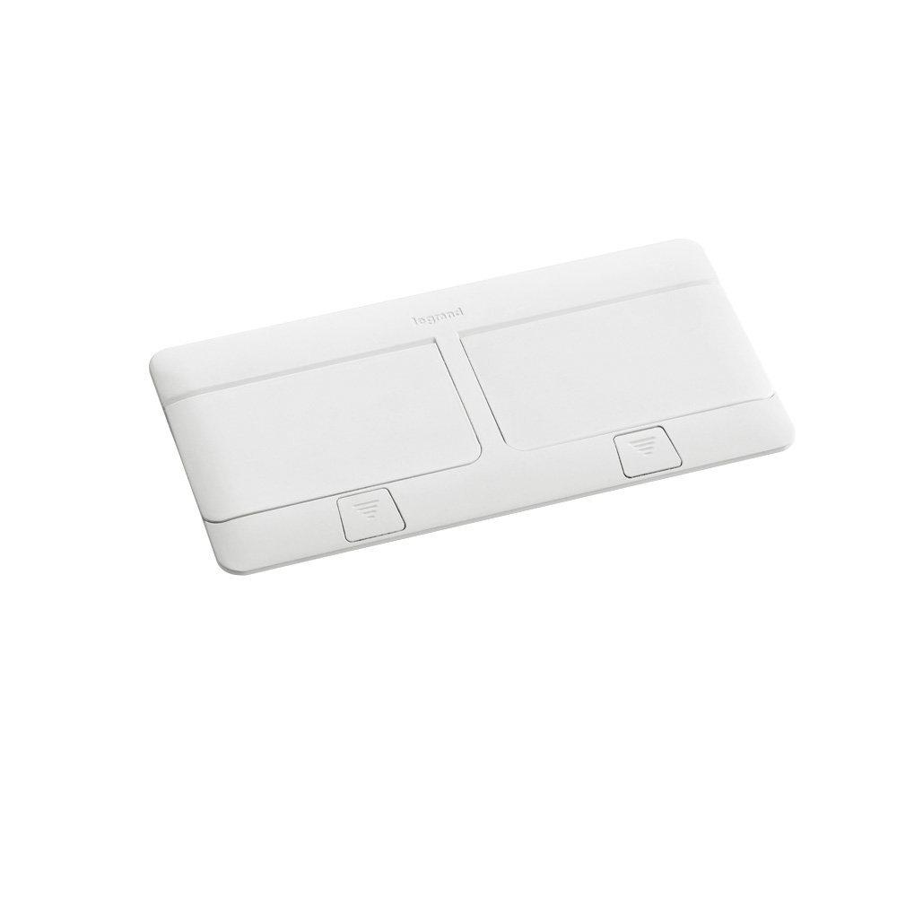 Выдвижной розеточный лючок на 8 (2х4) модулей для установки в столешницу или фальш-пол. Цвет Белый. Legrand (Легранд). 054033+054008