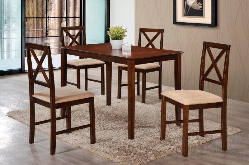 Обеденный комплект TETCHAIR Хадсон (стол + 4 стула), cappuccino (темный орех)