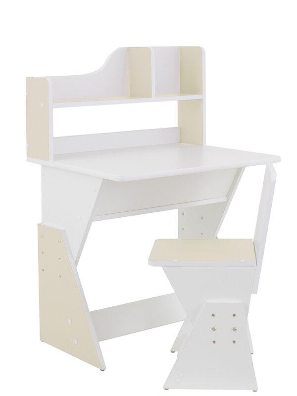 """Детская растущая парта и стул Я САМ """"Первое место Классик"""" (Цвет столешницы:Белый, Цвет боковин:Ваниль) Я сам 15572-3s"""