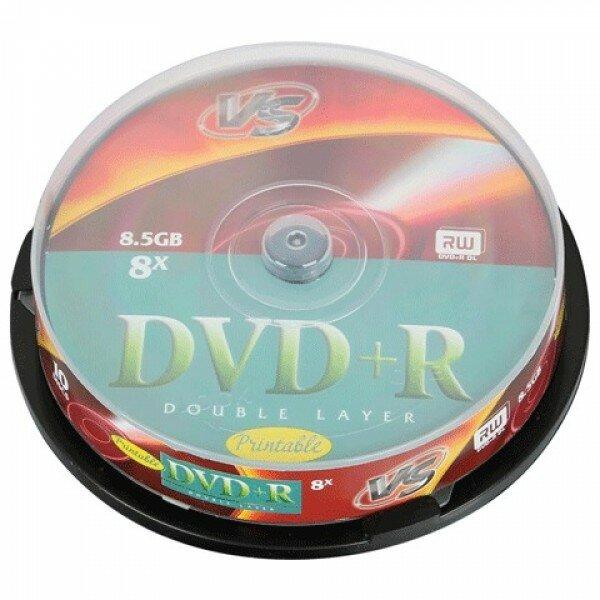 Диски DVD+R VS 8,5 Gb 8x, комплект 10 шт., Cake Box, двухслойный, VSDVDPRDLCB1002