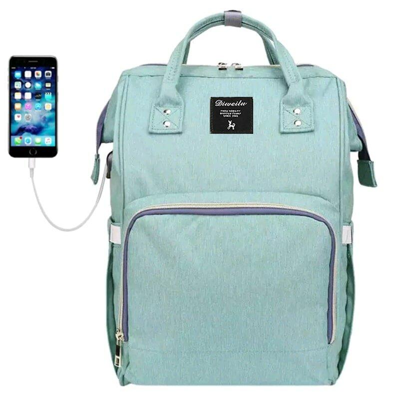 Рюкзак для мамы Diweilu с USB бирюзовый