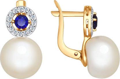 Золотые серьги SOKOLOV 792008_s с жемчугом, корундами, фианитами