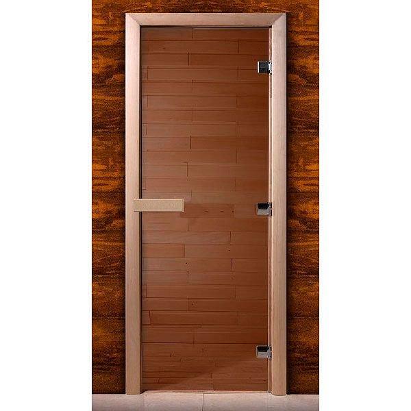 Дверь стеклянная для сауны MW стекло бронза, коробка ольха (Размер: 700*2000 мм)