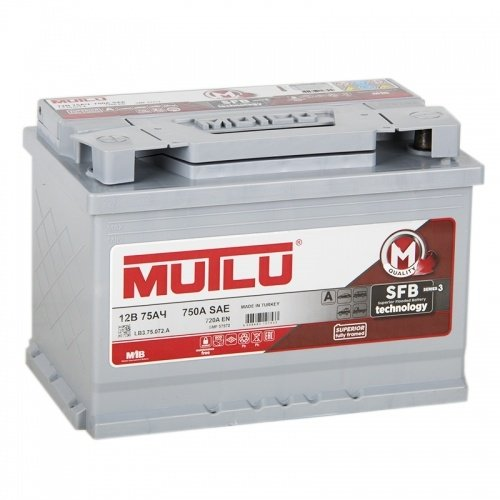 Аккумулятор MUTLU Calcium Silver L3.75.072.B прямая полярность 75 Ач