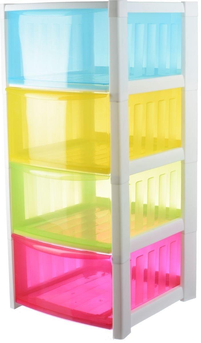 Детский комод для хранения игрушек Радуга разноцветный с 4 ящиками арт. М 2794