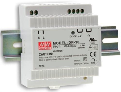 Преобразователь AC-DC сетевой Mean Well DR-30-24 источник питания 24В с универсальным входом от 85 до 264 В AC, мощность 36Вт / 1,5А, монтаж на DIN-ре
