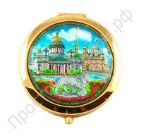 Зеркальце с видами 7,5 см Санкт-Петербурга в бархатном мешочке
