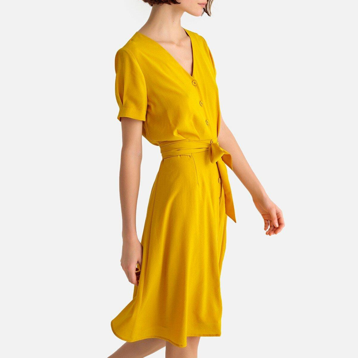 Платье-миди La Redoute С застежкой на пуговицы и короткими рукавами 42 (FR) - 48 (RUS) желтый