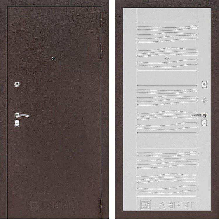 Входная дверь Лабиринт Классик 6 (Антик медный / Белое дерево) Белое дерево