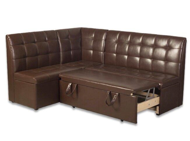 Кухонный угол Модерн с ящиком и спальным местом, коричневый