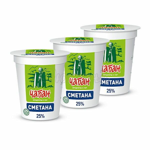 Сметана Чабан 25% 400 г x 3 шт