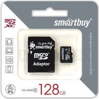Карта памяти SmartBuy microSDXC Class 10 10MB/s 128GB + SD adapter SB128GBSDCL10-01