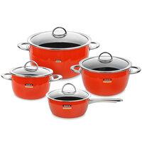 наборы кухонной посуды Kochstar Набор посуды из эмалированной стали из 3-х кастрюль и ковша с крышками, оранжевый