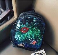 Рюкзак с пайетками (зеленый)