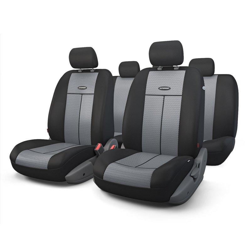 Авточехлы AUTOPROFI TT, полиэстер/трикотажная сетка, черный/темно-серый