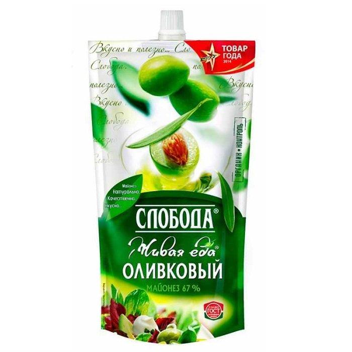 Майонез Слобода оливковый 67% 400мл сашет