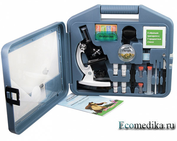 Микроскоп детский Микромед 100х-900х, в кейсе