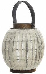 Фонарь декоративный с ручкой, бамбук, белый, 17х20 см