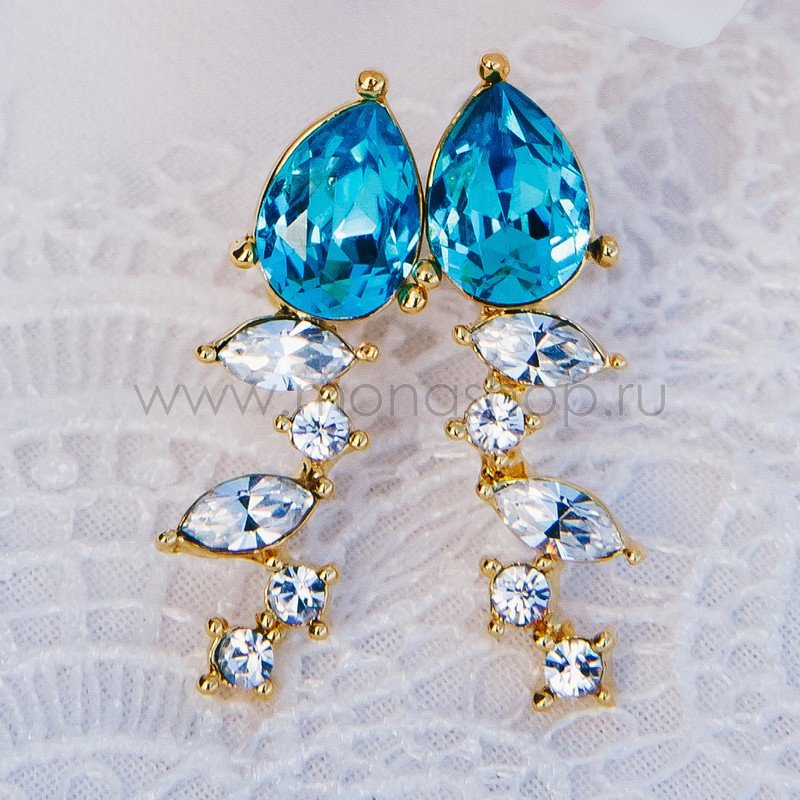 Серьги «Лазурный берег» с голубыми камнями Сваровски