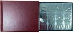Альбом на 72 монеты, 6 листов, ячейка 45х45 мм, АМЮ-72 горизонтальный (бордовый)