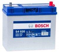 Аккумулятор автомобильный Bosch Asia Silver S4020 45 А/ч 330 A обр. пол., тонкие клеммы Азия авто (238x129x227) без бортика