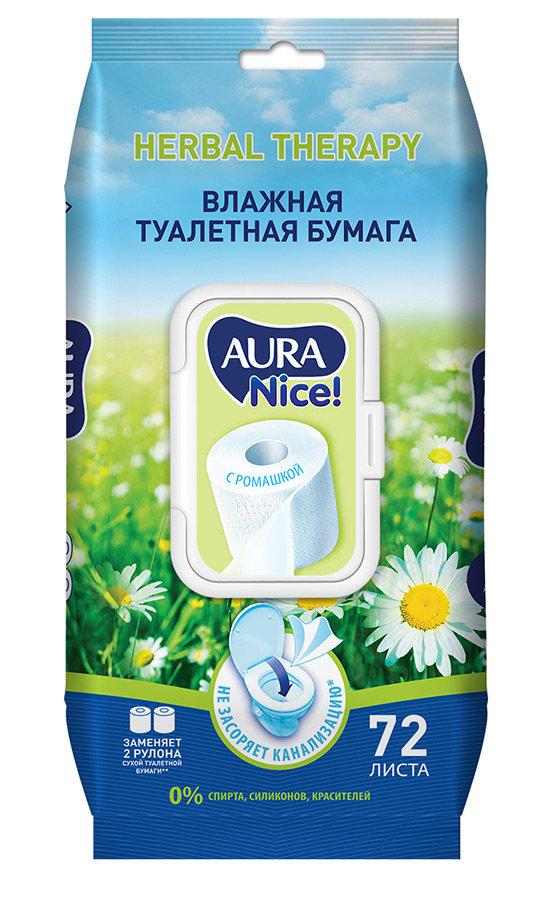 Туалетная бумага Aura влажная, 72шт