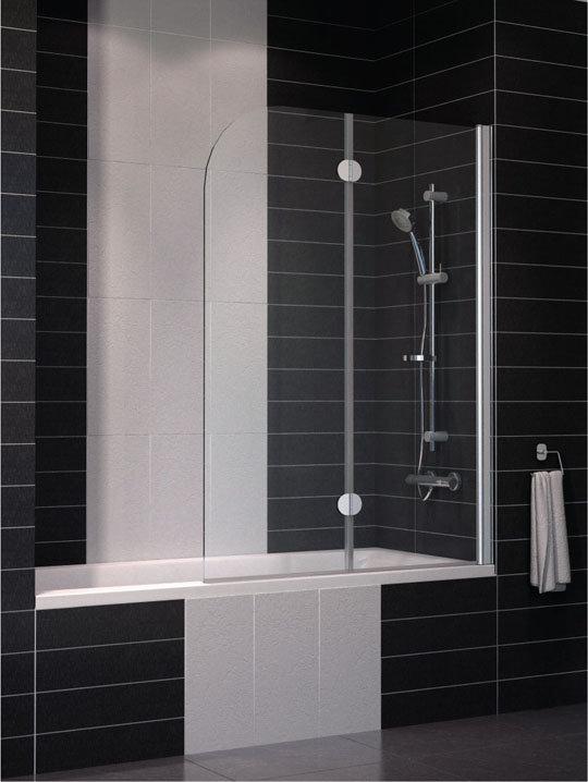Шторка на ванну Vegas Eolo 2V профиль глянцевый хром стекло сатин