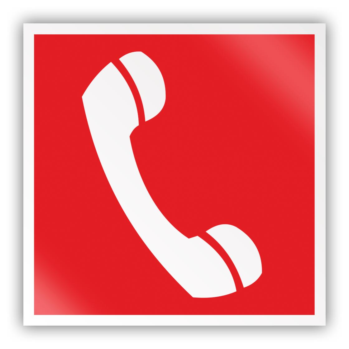 Светоотражающий знак на пластике F05 «Телефон для использования при пожаре (в том числе телефон прямой связи с пожарной охраной)» (2-мм пластик с накаткой С/О пленки, 200х200 мм)
