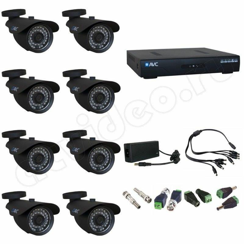 Уличный готовый комплект видеонаблюдения на 8 камер AVC 8-2 Full HD 1080p для дачи