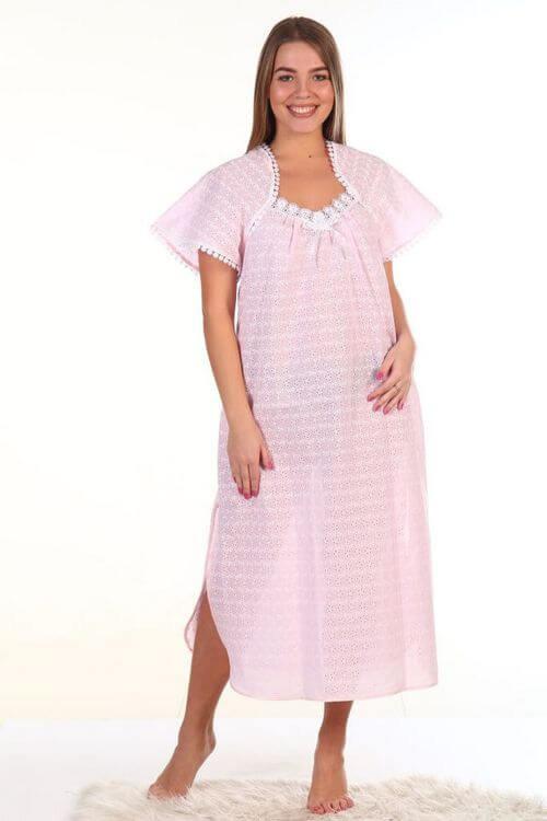 Сорочка ночная женская лёгкая батист 437 модель розовый 58 размер -