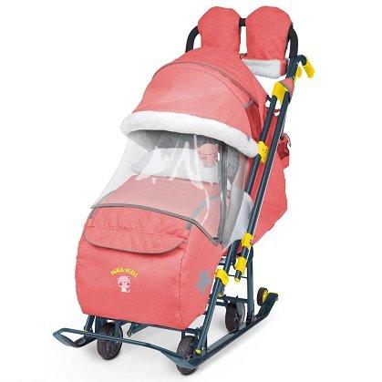 Санки-коляска Ника Детям 7-3 красный в джинсовом стиле
